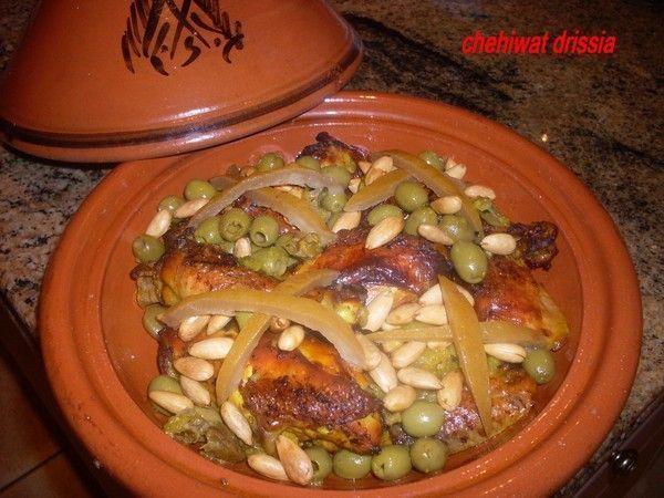 tajine de poulet aux citron confit et amandes